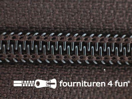 Deelbare spiraal rits nylon 6mm donker bruin