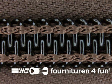 Deelbare tent rits nylon 10mm donker bruin