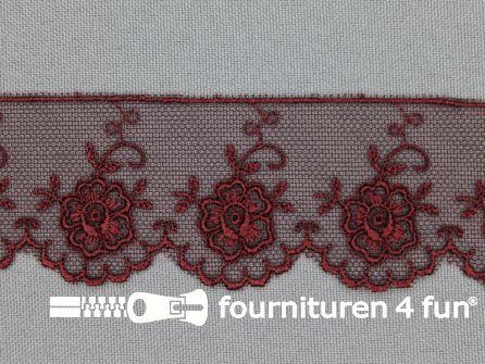 Valenciennes kant 35mm bordeaux rood