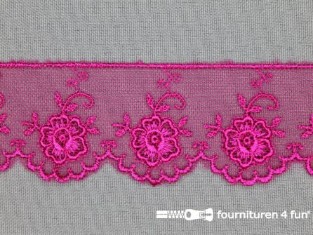 Valenciennes kant 35mm fuchsia roze