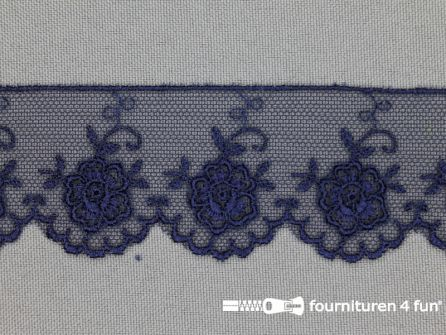 Valenciennes kant 35mm marine blauw coupon 1,35 meter