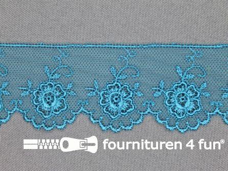 Valenciennes kant 35mm aqua blauw