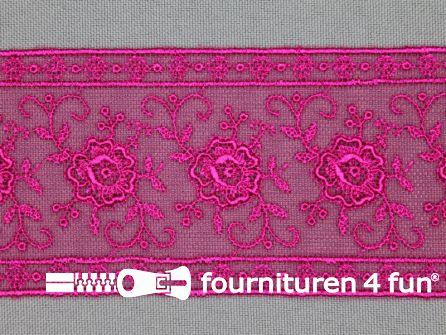 Valenciennes kant 50mm fuchsia roze