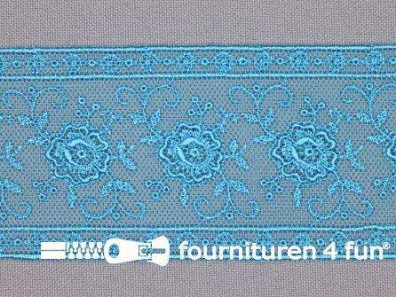 Valenciennes kant 50mm aqua blauw