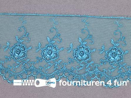 Valenciennes kant 60mm aqua blauw