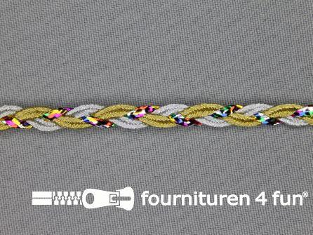 Goud-zilver-multicolor band 6mm