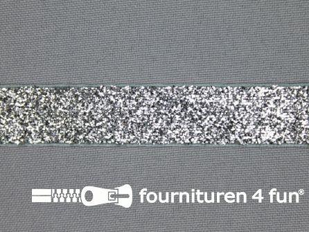 Fluweel lint 15mm zilver