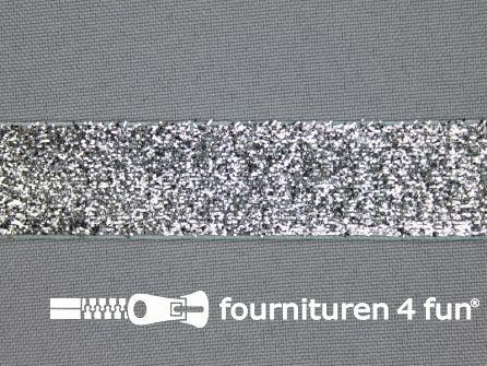 Fluweel lint 20mm zilver