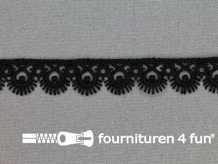 COUPON Nylon broderie 15mm zwart - 4 stukken, totaal 12,7 meter (3,45 + 1,25 + 5 + 3 meter)