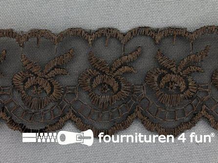 COUPON Nylon kant 42mm donker bruin - 3 stukken, totaal 5,2 meter (2,6 + 1,25 + 1,35 meter)