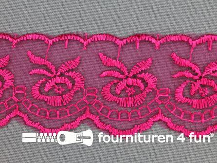 Nylon kant 40mm fuchsia roze