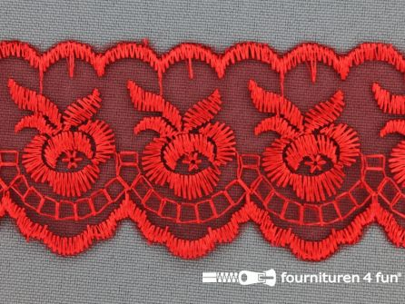 COUPON 4,5 meter Nylon kant 42mm rood