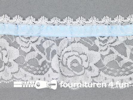 Nylon kant 62mm wit - licht blauw