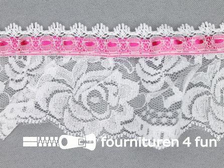 Nylon kant 62mm wit - fuchsia roze