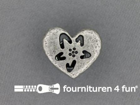 Landhuis knoop 20mm hartje - bloem