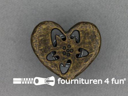 Landhuis knoop 25mm hartje - bloem