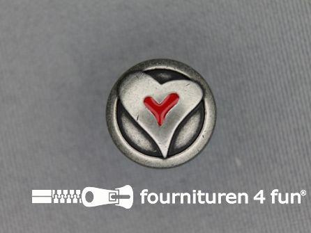 Landhuis knoop 15mm hartje rood