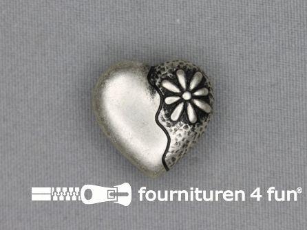 Landhuis knoop 23mm hartje - bloem