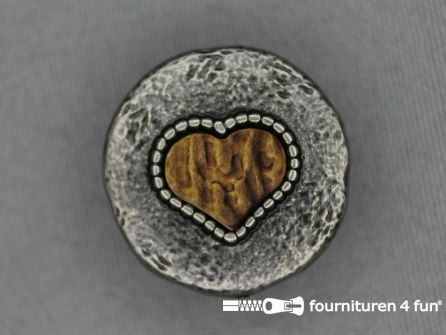 Landhuis knoop 25mm houten hart