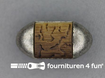 Landhuis knoop 25mm houten elips