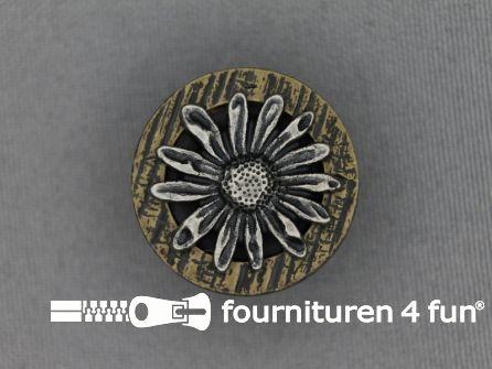 Landhuis knoop 25mm hoorn bloem