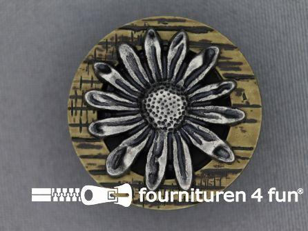 Landhuis knoop 34mm hoorn bloem