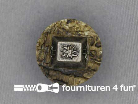 Landhuis knoop 23mm hoorn edelweiss