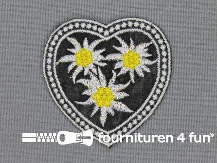 Landhuis applicatie 48x48mm hartje edelweiss