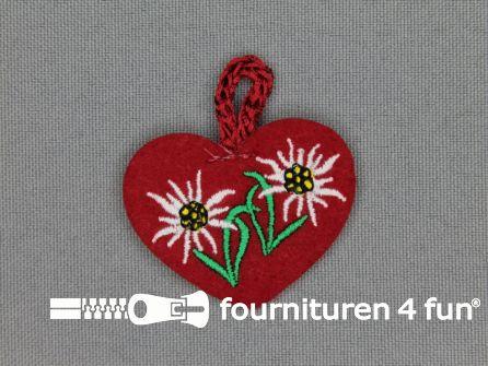 Landhuis applicatie 40x33mm hartje edelweiss