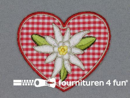 Landhuis applicatie 51x60mm hartje edelweiss