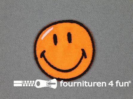 Kids applicatie 35x35mm smiley oranje