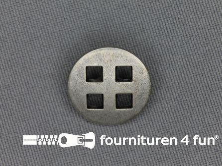 Zilveren knoop 18mm vierkant gat
