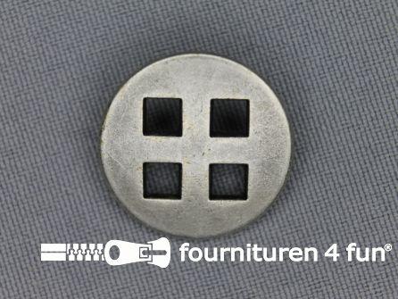 Zilveren knoop 23mm vierkant gat
