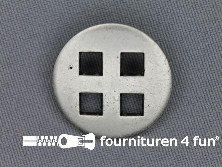 Zilveren knoop 25mm vierkant gat