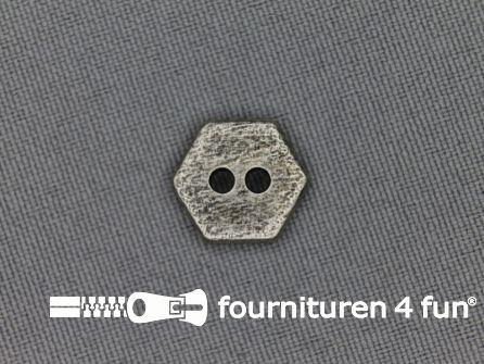 Zilveren knoop 13mm zeshoek