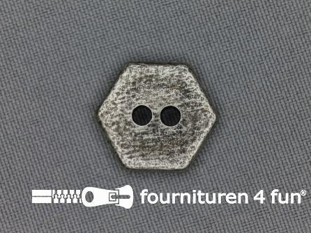 Zilveren knoop 18mm zeshoek