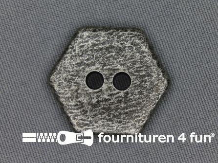 Zilveren knoop 25mm zeshoek