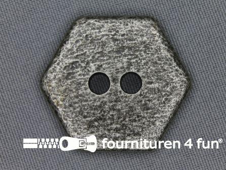 Zilveren knoop 30mm zeshoek