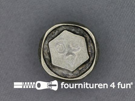 Zilveren knoop 21mm moer