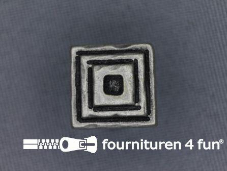 Zilveren knoop 15mm vierkantjes