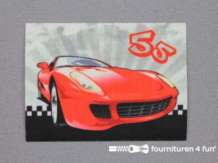 Applicatie 63x85mm rechthoek sport car rood
