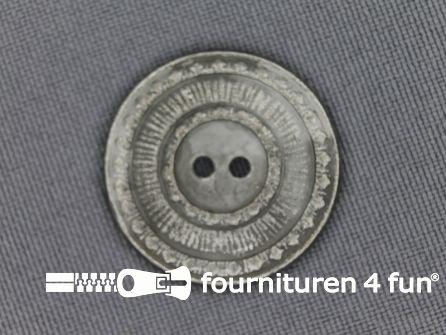 Zilveren knoop 25mm antique look