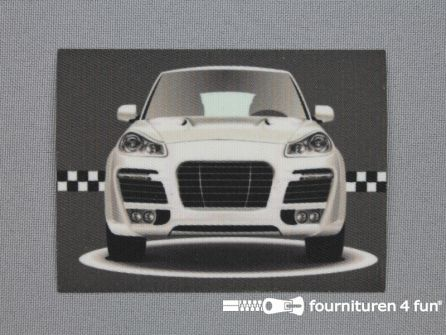Applicatie 63x85mm rechthoek sport car zilver