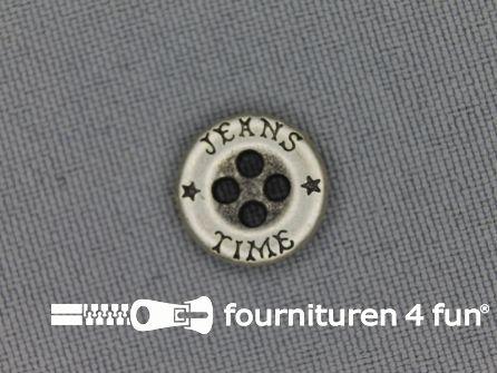 Zilveren knoop 13mm jeans time