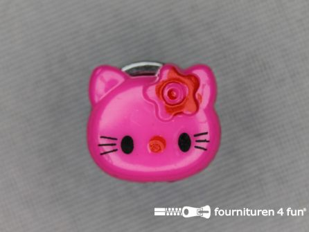 Kinder knoop 14mm hello kitty fuchsia roze