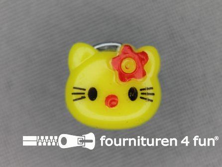 Kinder knoop 14mm hello kitty fel geel