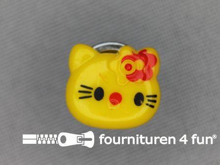 Kinder knoop 14mm hello kitty mais geel