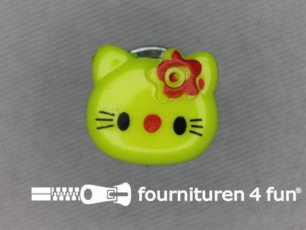Kinder knoop 14mm hello kitty lime groen