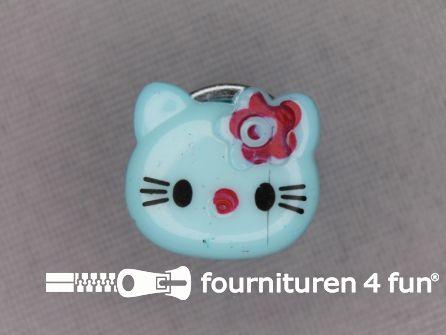 Kinder knoop 14mm hello kitty licht blauw