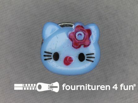Kinder knoop 14mm hello kitty aqua blauw